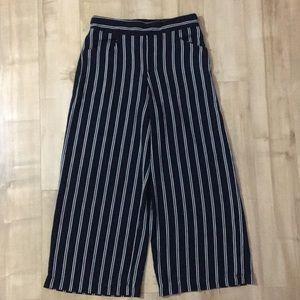 Wide Leg Striped Mid Calf Pants